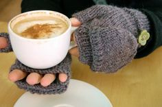 Fingerless mittens with the flap folded back