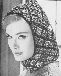 INSTANT DOWNLOAD  PDF 1960 Vintage Knit Pattern Flirty Sequin Hood Hat Pattern Fun 60s Ski Resort Fashion Pattern on Etsy, $3.00