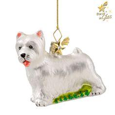 West Highland Terrier (Westie) - Exklusiver Baumschmuck aus Glas von Käthe Wohlfahrt® Des Menschen bester Freund Poesie in Glas® - kristallbesetzter Messingkomet am Aufhänger schöne Geschenkidee für a