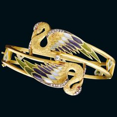 Barcelona 1900 bracelet in 18-carat gold with enamel, rubies and diamonds by Masriera
