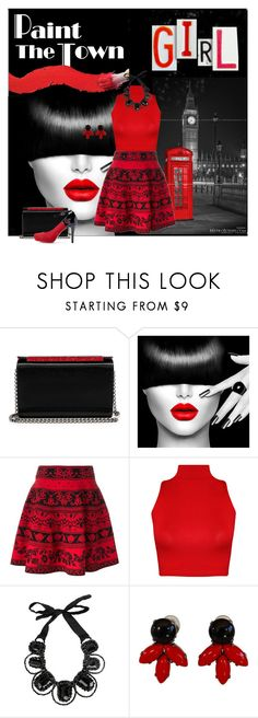 """Paint the town red"" by ida-mccosh ❤ liked on Polyvore featuring Christian Louboutin, Alexander McQueen, WearAll, NIGHTMARKET and Philippe Ferrandis"