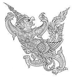 สอนวาดภาพจิตกรรม - Google Search Khmer Tattoo, Thai Tattoo, Building Tattoo, Shadow Theatre, Sak Yant Tattoo, Thai Pattern, Thailand Art, Tibetan Art, Tanjore Painting