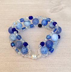 Blue Bracelet Blue Agate Bracelet Blue Bead by BarbsBeadedJewelry