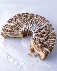 "Cherry-streusel coffee cake.  This recipe was first published in ""Martha Stewart's Baking Handbook."""