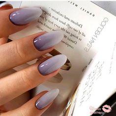 Elegant lilac Ombré almond nails Stylish Nails, Trendy Nails, Cute Acrylic Nails, Cute Nails, Acrylic Nails Almond Matte, Matte White Nails, White Nail Art, Nagellack Design, Manicure E Pedicure