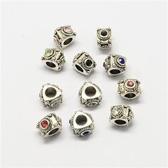 PALLOY-S003 30 x Antique Silver Alloy Large Hole European Beads Mixed Style