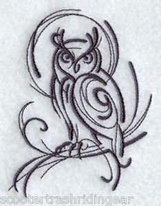 Black Tribal Owl Tattoo Design