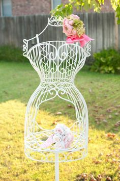 Lovely!  It would work as a display piece in retail shop as well!  Vintage Rose Tea Party with  KarasPartyIdeas.com #Garden #TeaParty
