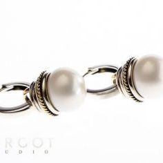 KO-JP643 Kolczyki ze srebra i złota z  perłami hodowanymi