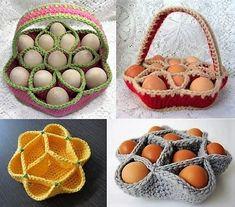 Modèles et tutoriel pour faire un panier ou une corbeille en laine au crochet pour ranger ses oeufs frais.