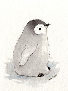 Image result for watercolor paintings of baby penguins