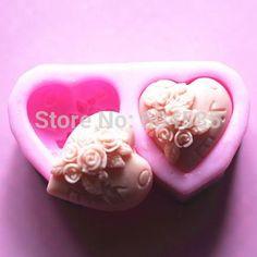 Small 2 Cavity Rose mold S0203 apCraft Art Silicone Soap mold Craft Molds DIY Handmade soap molds