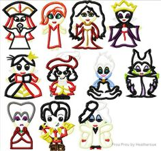 Villain ELEVEN design SET Little Prince and Princess Cuties Machine Applique Embroidery Design, Multiple Sizes