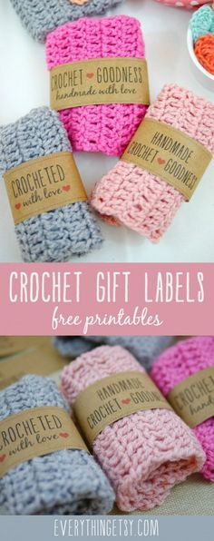Printable Crochet Gift Labels Free Printable Crochet Gift Labels - Print these out and share a little crochet goodness! Free Printable Crochet Gift Labels - Print these out and share a little crochet goodness! Crochet Diy, Crochet Simple, Crochet Gratis, Crochet Ideas, Quick Crochet Gifts, Crochet Craft Fair, Hand Crochet, Confection Au Crochet, Gift Labels