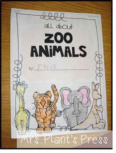 FREE Informational book about zoo animals.includes a blank page for animals your kids want to write about Kindergarten Language Arts, Teaching Kindergarten, Teaching Science, Kindergarten Activities, Writing Activities, Nonfiction Activities, Zoo Animal Activities, Zoo Preschool, Preschool Ideas