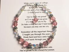 Off To College Bracelet-a memorable gift idea to give your daughter as she heads off the door to college.