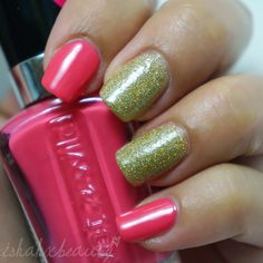 Neon Pink and Gold Glitter-tastic nails