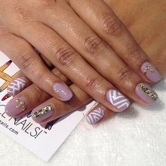 Mix and match #gelish manicure with gold embellishments #nailart #lbc  (at Hey, Nice Nails!)