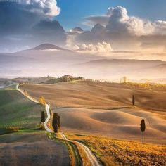 Beautiful rolling hills of Tuscany. That is exact spot where Gladiator movie was filmed. This house is called poggio Terrapille. On the right side of the hill Maximus stood in the grain fields. Shot from my November photo workshop in Tuscany. Join my photography workshops at Danielkordan.com #italy #Terrapille #valdorcia #Tuscany by danielkordan