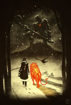 Wizard Of Oz,  a 100 year winter, a Giant Frozen Tin Man, a lion made of Fire, a Scarecrow that transforms into a Crow, and Dorothy with Her Trusty ToTo sword.  This is my vision of a classic tale.