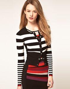 Karen Millen Block Stripe Knit Cardigan