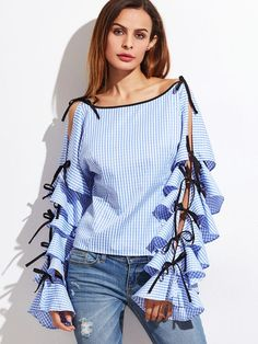 Cheap ruffle long sleeve blouse, Buy Quality women blouses directly from China women blouse fashion Suppliers: SHEIN Spring 2017 Women Clothing Women Blouse New Fashion Boat Neck Blue Striped Bow Tie Split Ruffle Long Sleeve Blouse Sleeves Designs For Dresses, Sleeve Designs, Blouse Designs, Marvel Shirt, Mode Style, Shirt Blouses, Shirts, New Fashion, Blouses For Women