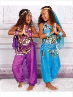 Girls Arabian Genie Halloween Costume (6 Color Options) - Girls Halloween Costume Belly Dancer Costumes, Girls Dance Costumes, Dance Outfits, Kids Genie Costume, Aladdin Costume, Costume Halloween, Halloween Costumes For Girls, Arabian Nights Costume, Arabian Princess Costume