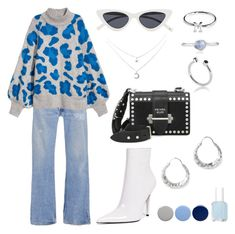 """""""Blue as a leo"""" by moakarlsvard on Polyvore featuring RE/DONE, Prada, Jeffrey Campbell, All Blues, Maya Magal, Monica Vinader, Burberry and Essie"""