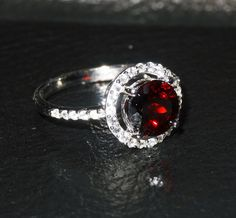 Garnet Ring White Topaz Halo Vintage Sterling Silver  2.68 Carats TW on Etsy, $150.00