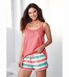 Pijama corto 2 piezas mujer 100% algodón