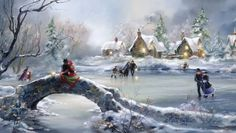 """""""Winter Holiday"""" painting by: Marty Bell! Christmas Scenes, Christmas Art, Winter Christmas, Winter Holidays, Thomas Kinkade, Snow Scenes, Winter Scenes, Winter Pictures, Christmas Pictures"""