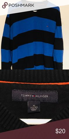 Tommy Hilfiger Blue/Black Striped Sweater Tommy Hilfiger Blue/Black Striped Sweater  Size: XL (For Men)  Condition: Like new! No holes, tears or stains anywhere!   #Tommy #TommyHilfiger #Blue #Black #Striped Tommy Hilfiger Sweaters