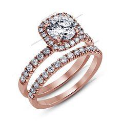 Ladies 2.1/4 CT D/VVS1 Diamond Wedding Bridal Ring Set Over 14K Rose Gold Finish #br925silverczjewelry