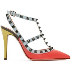 Valentino Multicolor Rockstud Cage Heels (£600) ❤ liked on Polyvore featuring shoes, pumps, pointy toe stiletto pumps, pointed toe pumps, colorful pumps, high heel stilettos and multi colored pumps
