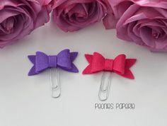 Pink & Purple (Iris) Petite Felt Bow Set Paper Clips Planner Clips for Your Erin Condren Filofax Kikki K Planner Accessories by PeoniesPaperie on Etsy https://www.etsy.com/listing/233887073/pink-purple-iris-petite-felt-bow-set