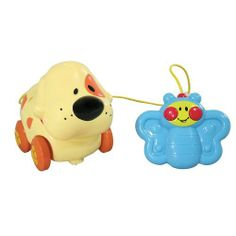 """Barnyard Friends R/C Toddler Remote Control Pet Toy CAT by Happy Kid Toy Group. $5.95. Oh, how clever: a toddler's remote control toy that's not only easy to master, but gets kids up and walking! Stroll forwards and backwards, admire the wagging tail, hear animal sounds, plus three fun songs. Includes chunky, two-button controller, breakaway safety cord, and remote control pet. Batteries included. For ages 18 months and up. Choose Dog or Cat. This """"walking"""" remote cont..."""