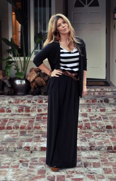 Maxi, striped tank, tan accessories. This would look great pared with a mustard cardigan.