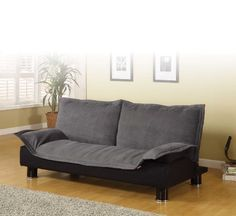 Coaster 300177 Futon Sofa Bed Couch Sleeper Grey Microfiber Black Base *** You can get additional details at the image link.Note:It is affiliate link to Amazon.