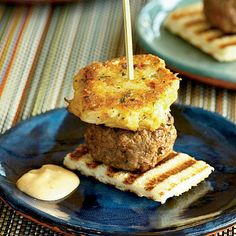 Mini Surf-and-Turf Burgers | Learn how to make Mini Surf-and-Turf Burgers. MyRecipes has 70,000+ tested recipes and videos to help you be a better cook