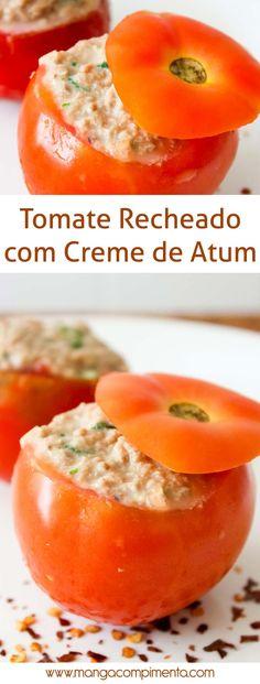 Tomate Recheado com Creme de Atum - para um almoço leve na semana! #receita #comida #salada #atum