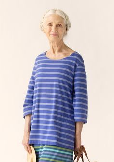 """Top in eco-cotton/spandex A slightly narrower stripe can be the highlight in a gorgeous combination. Especially in this wearable top, with boat-neck neckline. A style that feels comfortable all day long. Standard fit. Length: M 27½"""" Item number 62416 Price $ 78 (customs duties included)"""