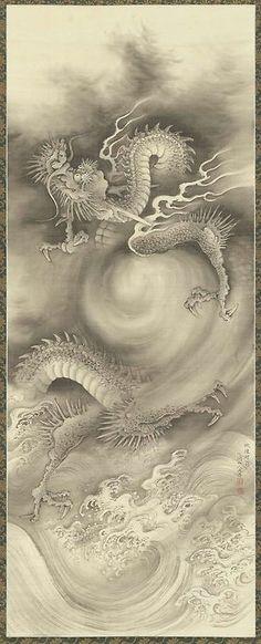 NAKABAYASHI Chikutō(中林 竹洞 Japanese, 1776-1853) Dragons1 雲龍図 Hanging scroll; ink on silk