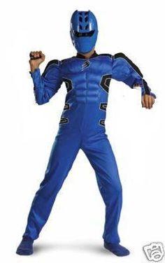 Power Rangers JUNGLE FURY Shark Blue Muscle Costume + Mask size 10/12 NeW RARE . $114.99