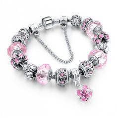 Charm Bracelet - Luxury Fashion Silver & Pink Crystal Charm Bracelet