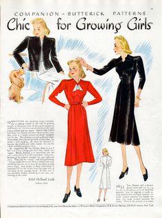 Butterick 7633 | ca. 1937 Junior Miss Dress and Jacket