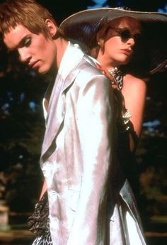 Jonathan Rhys Meyers as Brian Slade and Toni Collette and Mandy Slade in Velvet Goldmine