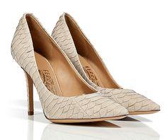 SALVATORE FERRAGAMO Almond Leather Embossed Leather Pointed Toe Susi Stilettos