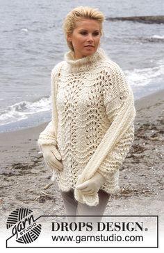DROPS Pullover in Eskimo and Vienna. Gloves in Karisma Superwash. Scarf in Vivaldi Free pattern by DROPS Design. Jumper Knitting Pattern, Cardigan Pattern, Knitting Patterns Free, Free Knitting, Free Pattern, Scarf Patterns, Drops Design, Knitting Videos, Knitting Tutorials