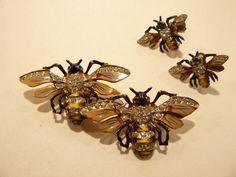 1942 Coro Sterling Figural Queen Bees Duette Rhinestone & Enamel Brooch and Earrings