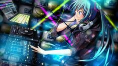 Anime Girls Hatsune Miku mixing ConsolesYou can find Vocaloid and more on our website. Anime Music, Anime Art, Girl Dj, Iphone 2g, Macbook Desktop, 1080p Wallpaper, Wallpapers, Kagerou Project, Female Anime